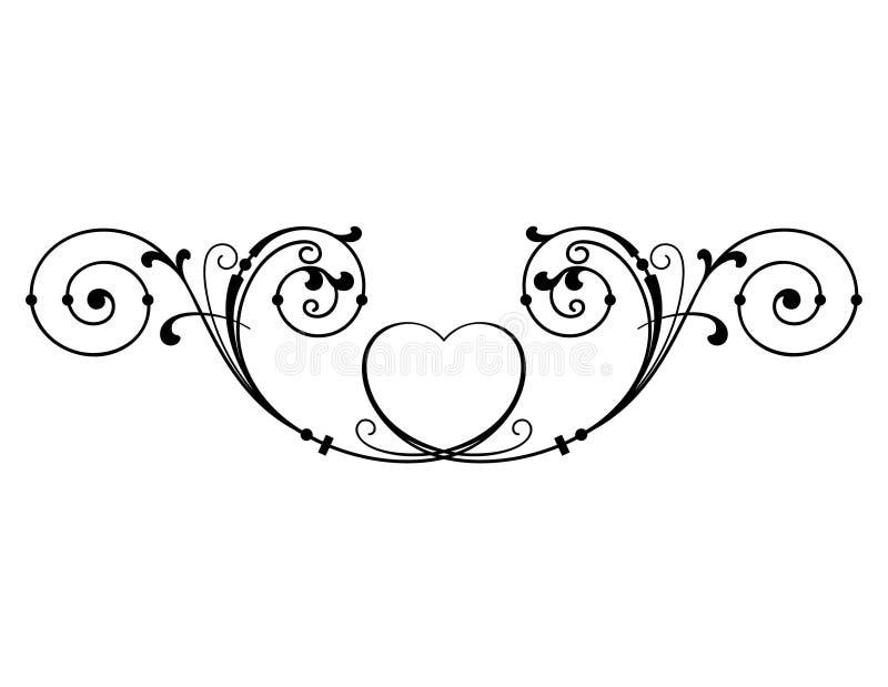Tappning flödande snirkeldesign med hjärtamotiv stock illustrationer