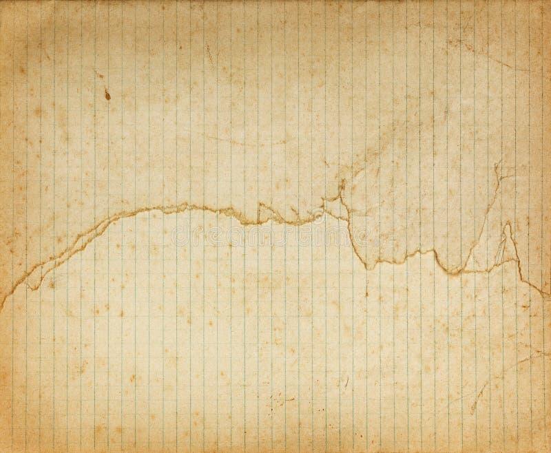 Tappning fodrat trasigt pappers- ark med mörka gränser royaltyfri bild