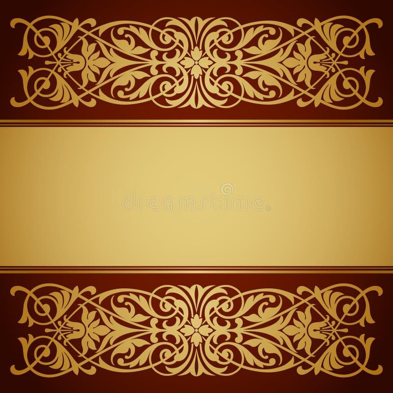 Tappning gränsar inramar den guld- bakgrundscalligraphyvektorn stock illustrationer