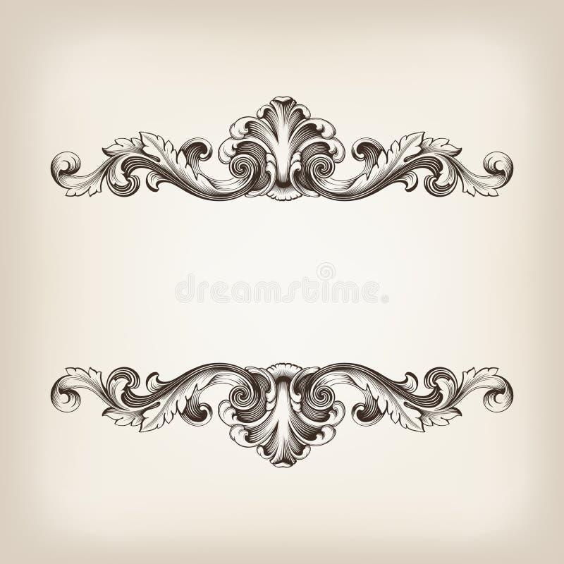 Tappning gränsar inramar vektorn för calligraphygravyrbarocken stock illustrationer