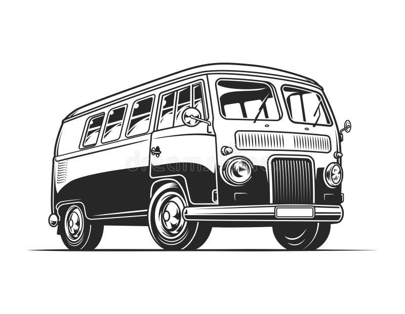 Tappning hippie skåpbil mall royaltyfri illustrationer