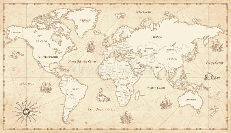 Tappning illustrerad världskarta stock illustrationer