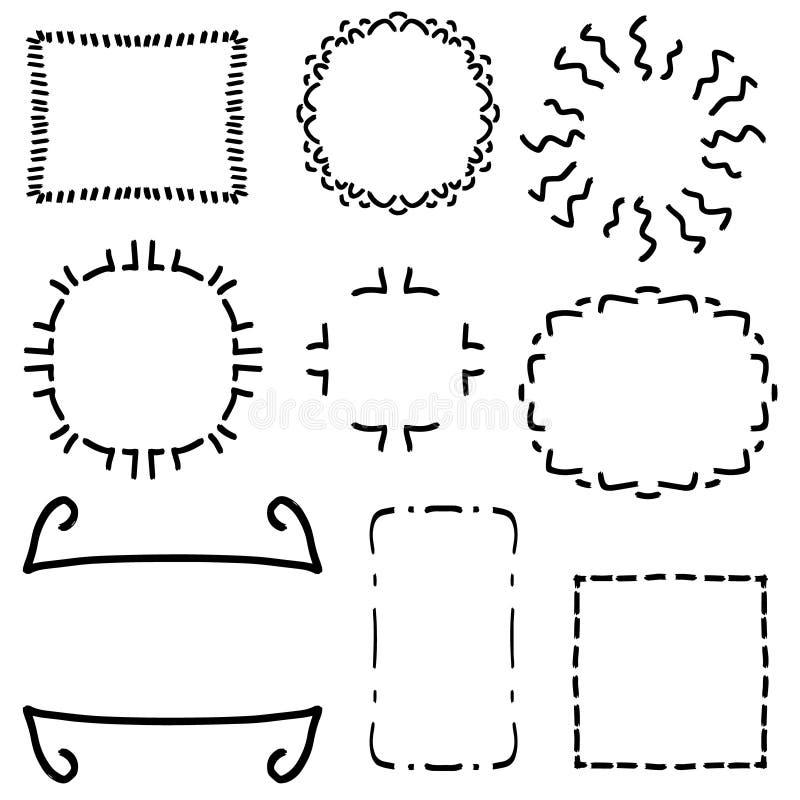Tappning inramar fastställt - packen för clipart för tappningramvektorn Ställ in av ramar på vit bakgrund som göras i enkel stil stock illustrationer