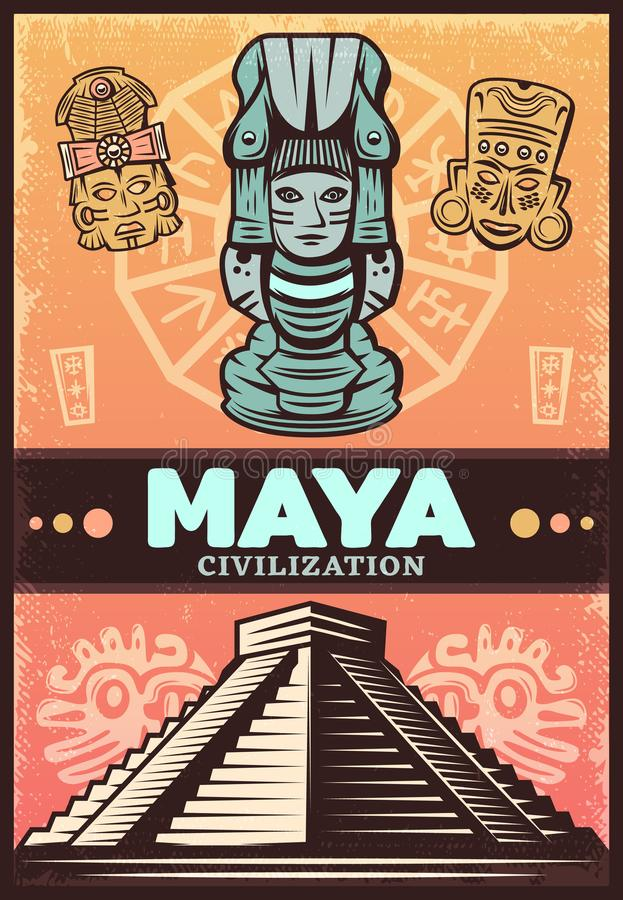 Tappning kulöra forntida Maya Poster royaltyfri illustrationer