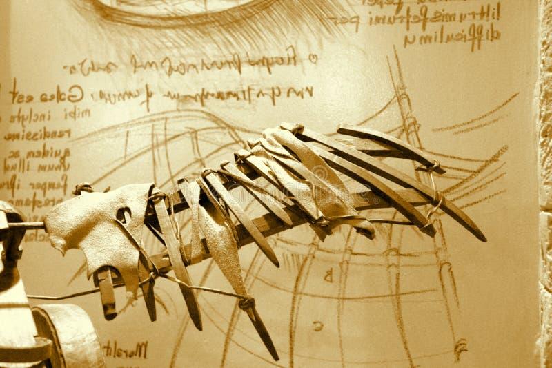 Tappning Leonardo Da Vinci Invention royaltyfri illustrationer