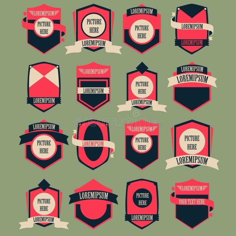 Tappning Logo Vector Set stock illustrationer