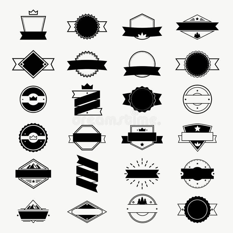 Tappning märker, och emblem ställer in, vektorlogo-, stämpel- och ramdesignbeståndsdelar vektor illustrationer