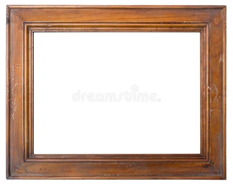 Tappning målade den tomma träfotoramen som isolerades på vit bakgrund arkivfoto