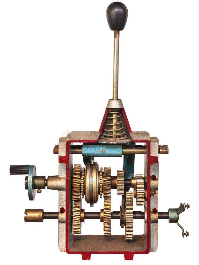 Tappning modellerar av en gearshift som isoleras på vit fotografering för bildbyråer