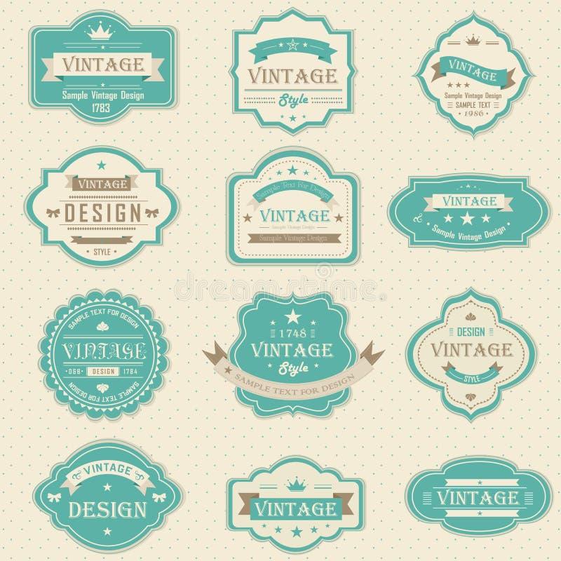 Tappning och retro emblem planlägger med prövkopiatext ( royaltyfri illustrationer