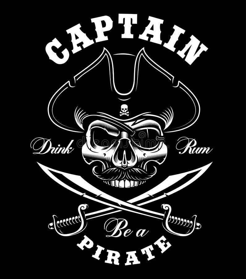 Tappning piratkopierar skallen stock illustrationer
