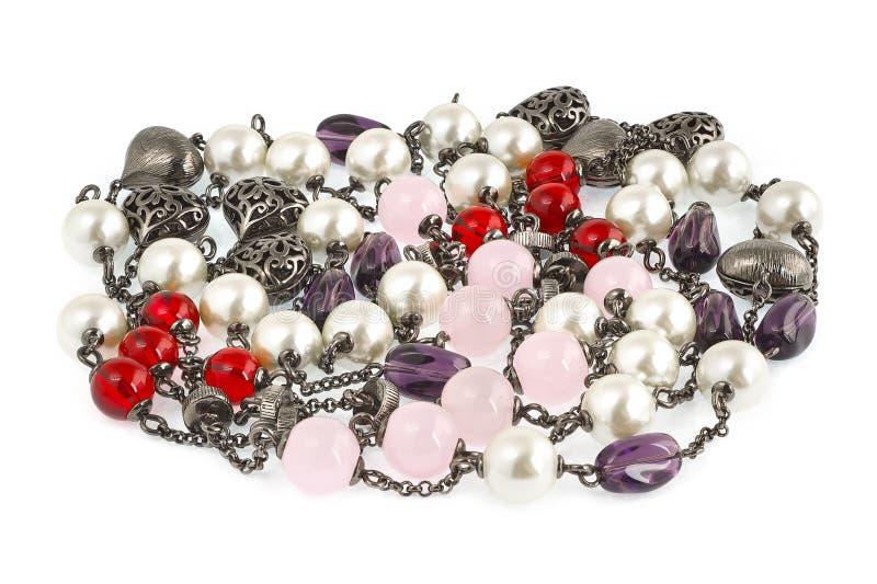 Tappning prytt med pärlor halsband. royaltyfri foto