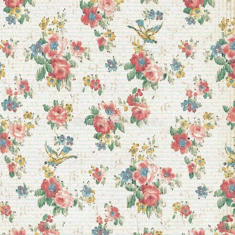 Tappning Rose Floral Wallpaper Shabby Chic royaltyfri foto