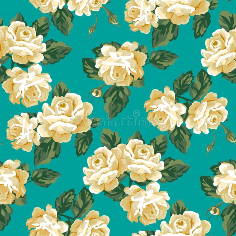 Tappning Rose Pattern stock illustrationer