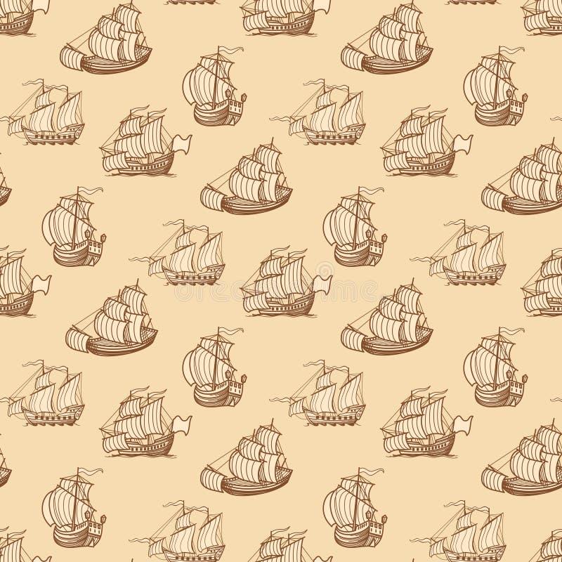 Tappning sänder den sömlösa modellen Antik fartygtextur vektor illustrationer