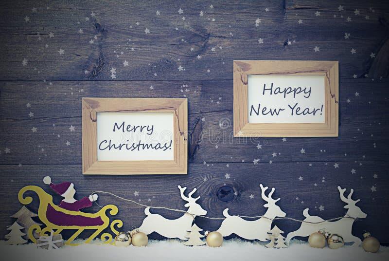 Tappning Santa Claus Sled, glad jul och lyckligt nytt år arkivfoto