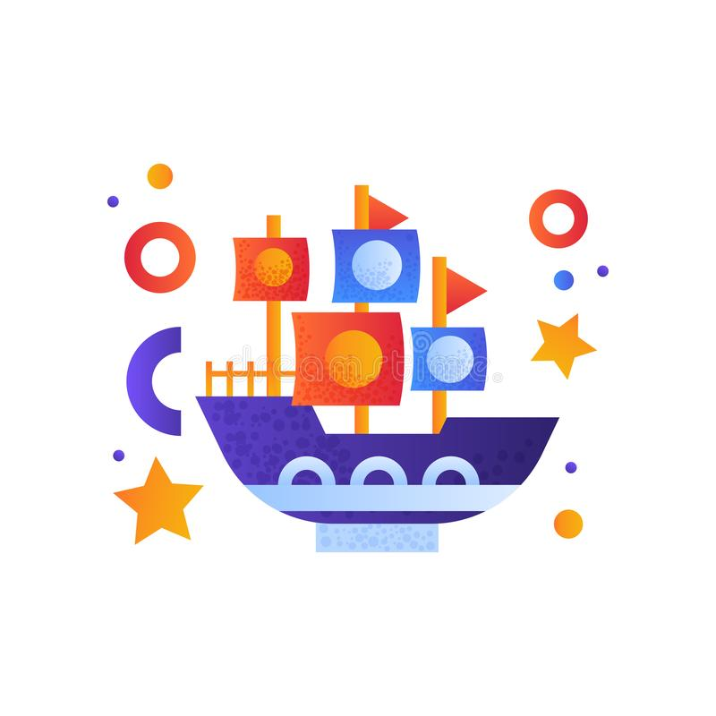 Tappning shoppar med seglar, havsloppet, retro illustration för vektor för leksakvattentransport på en vit bakgrund royaltyfri illustrationer