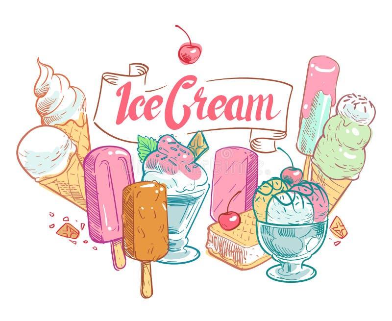 Tappning skissar affischen för sommartid för fruktglassvektorn royaltyfri illustrationer
