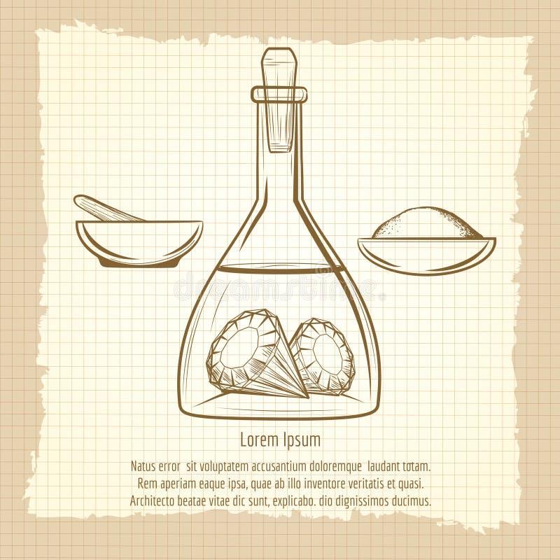 Tappning skissar av vetenskapslabbutrustning stock illustrationer