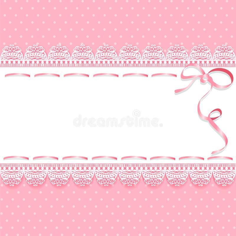Tappning snör åt rosa bakgrund med bandet royaltyfri illustrationer