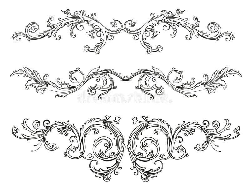 Tappning som är blom-, gräns royaltyfri illustrationer