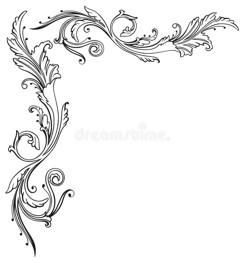 Tappning som är blom-, gräns stock illustrationer