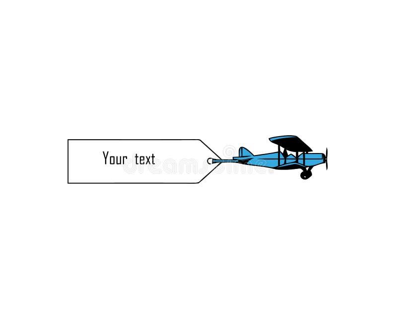Tappning som flyger flygplan med baner Mall f?r text ocks? vektor f?r coreldrawillustration royaltyfri illustrationer