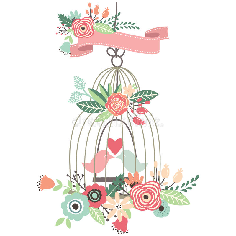 Tappning som gifta sig den blom- fågelburen royaltyfri illustrationer
