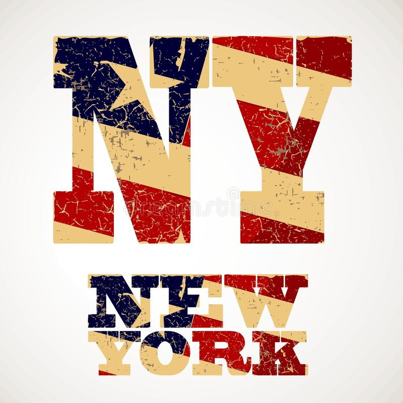 Tappning som märker NY och den New York flaggan av USA royaltyfri illustrationer