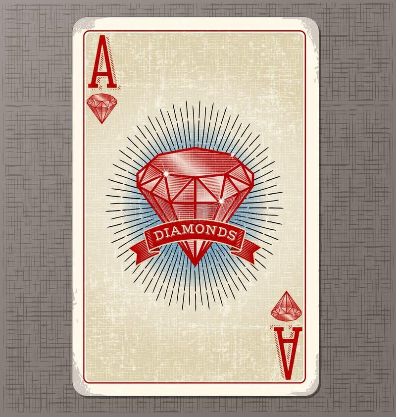 Tappning som spelar kortvektorillustrationen av överdängaren av diamanter royaltyfri illustrationer