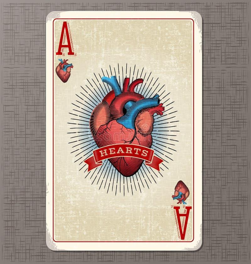 Tappning som spelar kortvektorillustrationen av överdängaren av hjärtor stock illustrationer