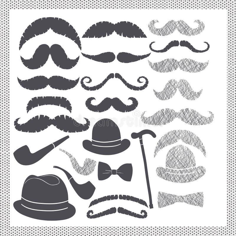 Tappning som ställs in med mustascher, hattar och rør stock illustrationer