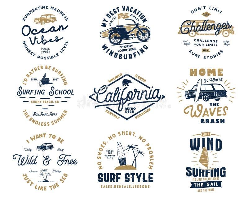 Tappning som surfar diagramuppsättningen och emblem för rengöringsdukdesign eller tryck Surfarelogomallar Br?nningemblem L?ter gy royaltyfria bilder