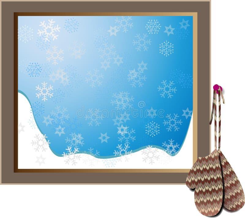 Tappning stack tumvanten som hänger bredvid snöig fönster stock illustrationer