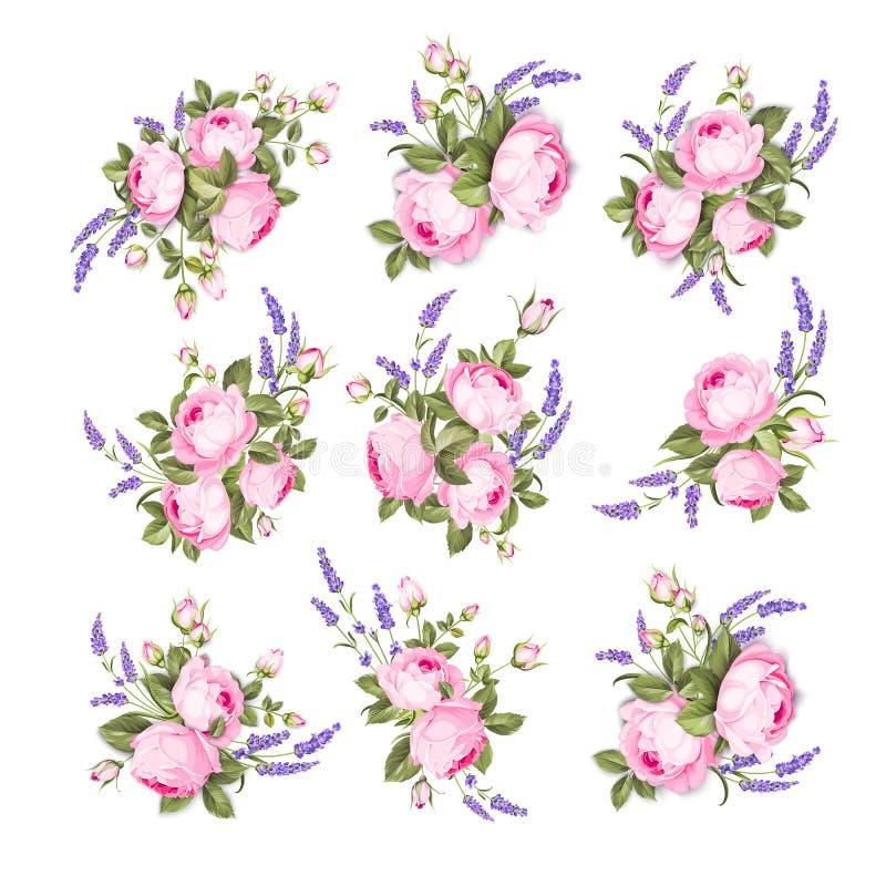 Tappning steg blommor ställde in över vit bakgrund Gifta sig sommar buntar blommor Blommasamling av vattenfärghanden stock illustrationer
