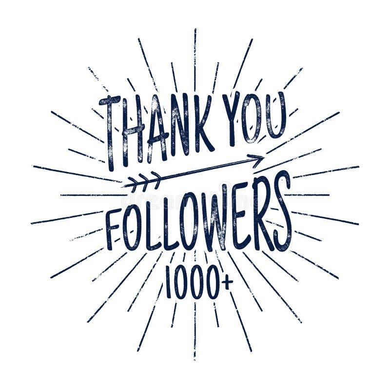 Tappning tackar dig emblemet för 1000 anhängare Socialt massmedia etikett och klistermärke Handskriftbokstäver med hipsterbestånd stock illustrationer
