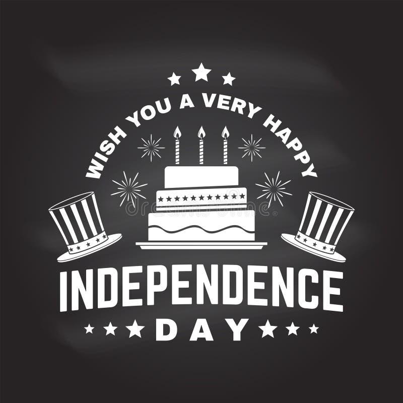 Tappning 4th av den juli designen i retro stil Sj?lvst?ndighetsdagenh?lsningkort Patriotiskt baner f?r websitemall vektor stock illustrationer