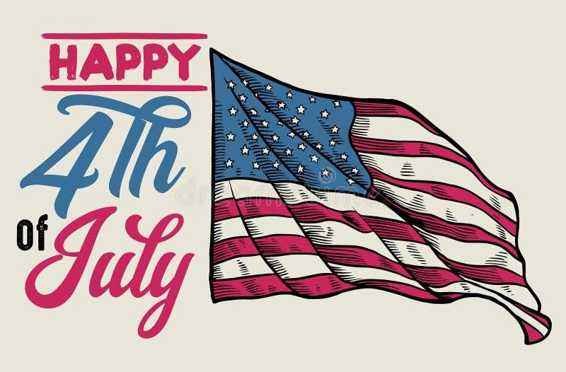 Tappning 4th av den juli designen med den handdrawn flaggan vektor illustrationer