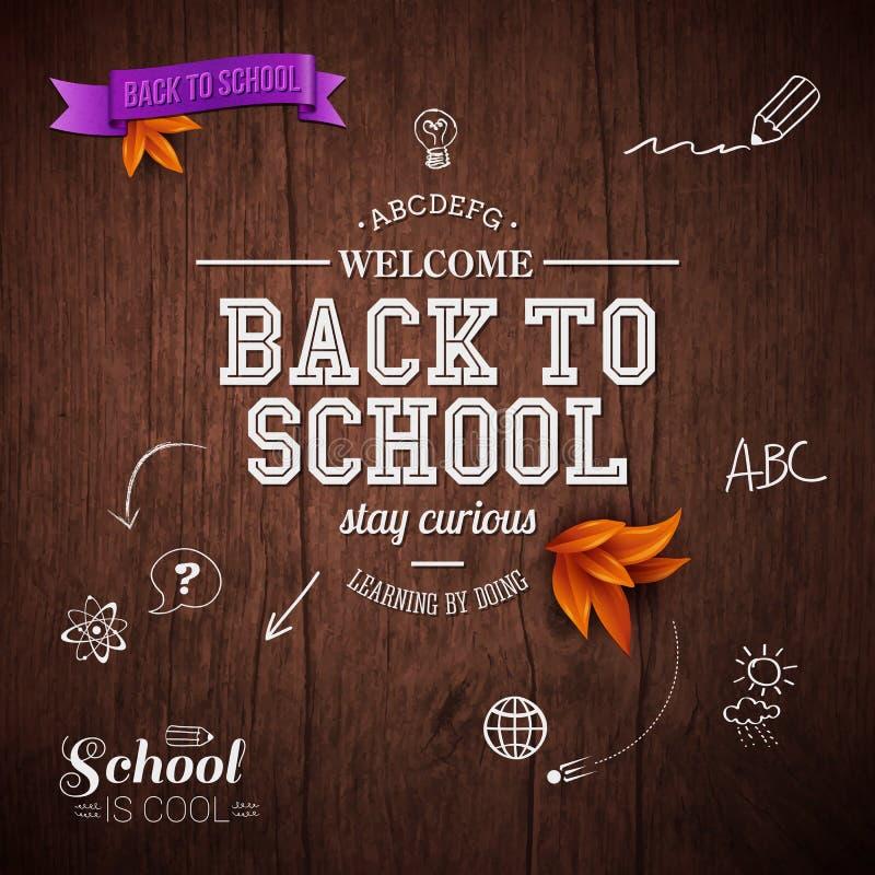 Tappning tillbaka till skolakortet royaltyfri illustrationer