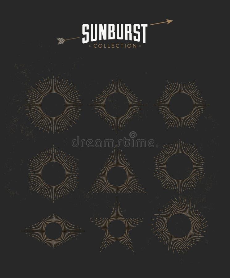 Tappning utformad sunburstuppsättningsamling också vektor för coreldrawillustration stock illustrationer