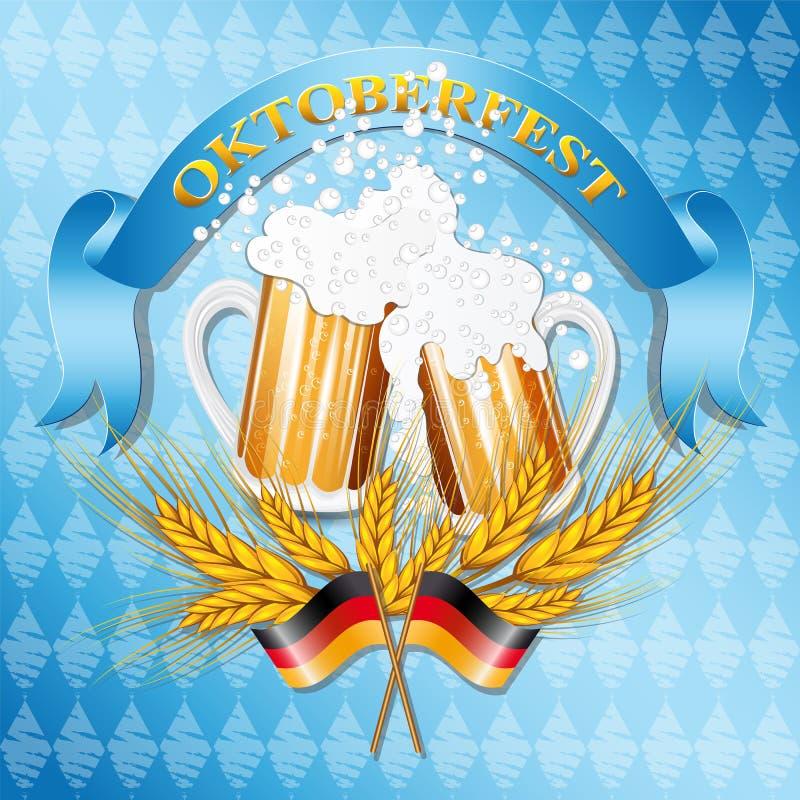 Tappning utformade emblemet med exponeringsglas av öl för Oktoberfest royaltyfri illustrationer