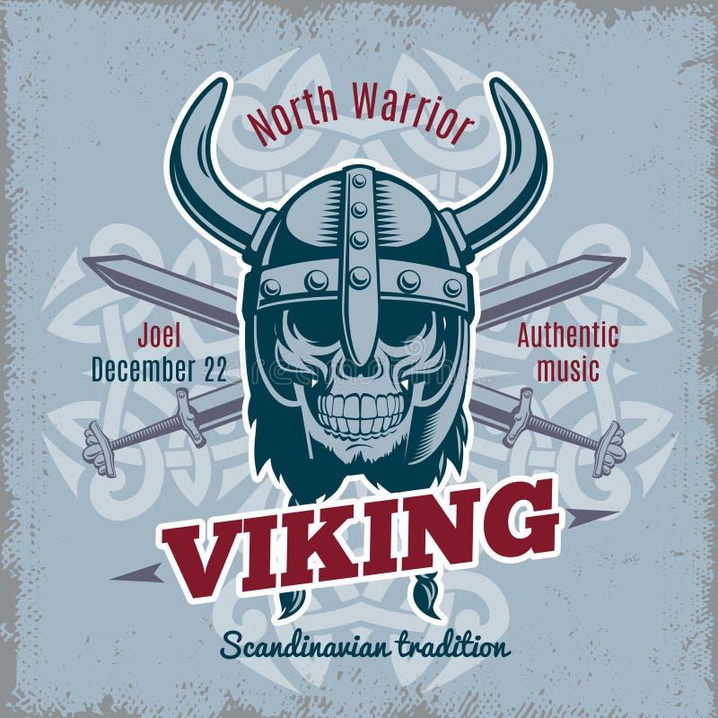 Tappning Viking Poster stock illustrationer