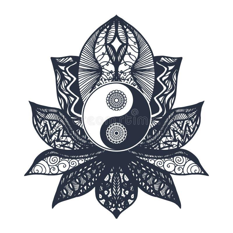 Tappning Yin och Yang i Lotus royaltyfri illustrationer
