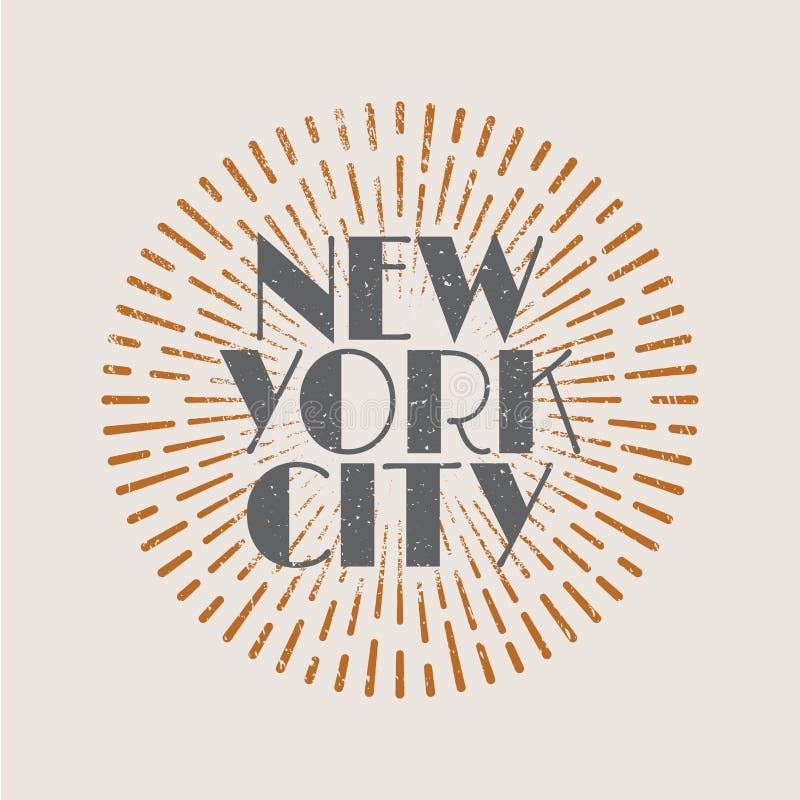 Tappningabstrakt begreppetikett med sunbursten och titeln New York City royaltyfri illustrationer