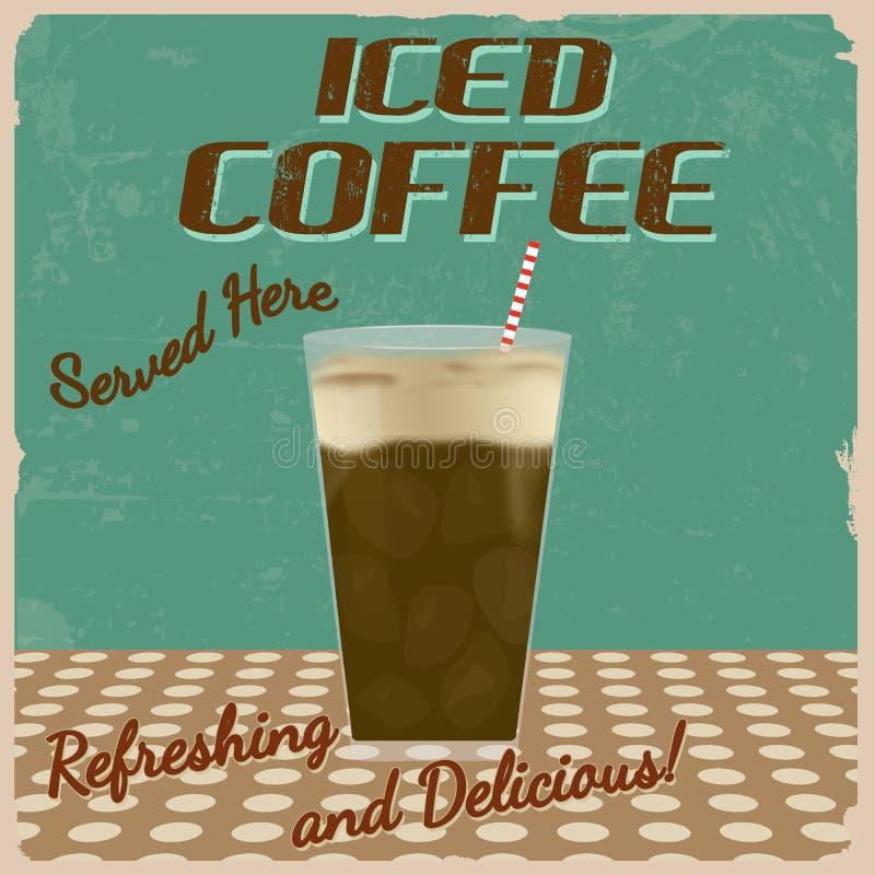 Tappningaffisch för med is kaffe royaltyfri illustrationer