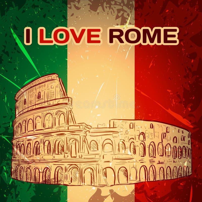 Tappningaffisch med Colosseum på grungebakgrunden Den Retro handen drog vektorillustrationen 'älskar jag Rome', vektor illustrationer