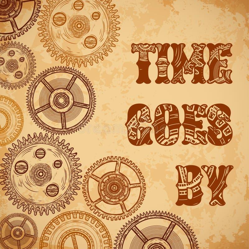 Tappningaffischen Tid passerar med kugghjul av urverk på åldrig pappers- grungebakgrund stock illustrationer