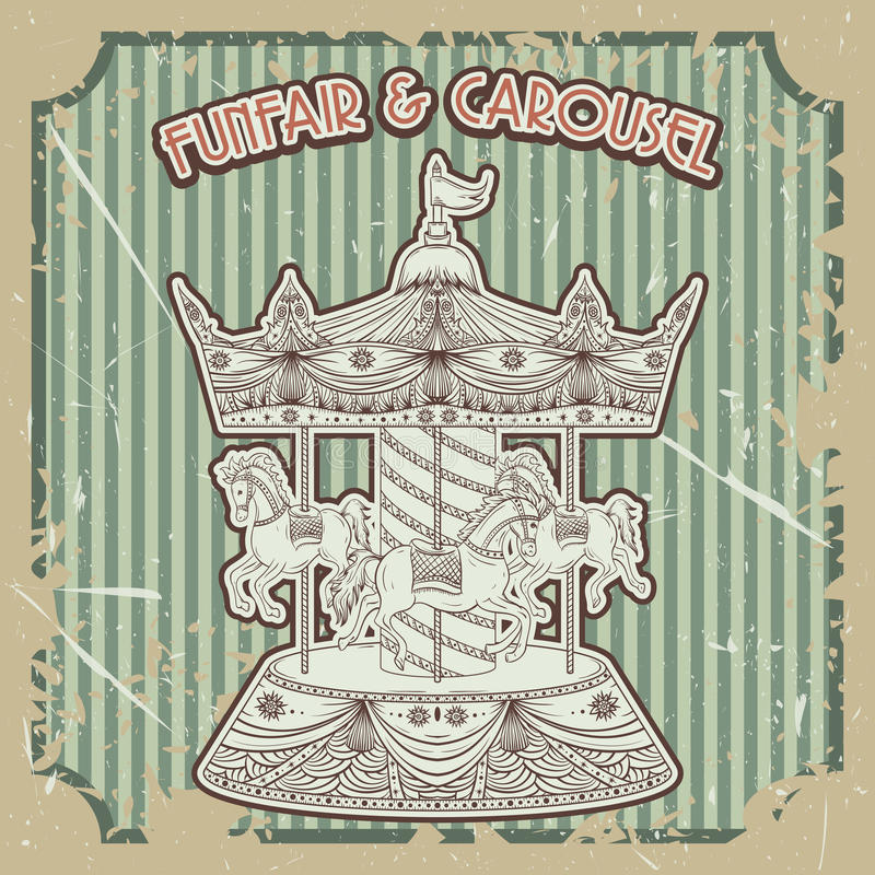 Tappningaffischfunfair & karusell på grungebakgrund Isolerade beståndsdelar vektor illustrationer