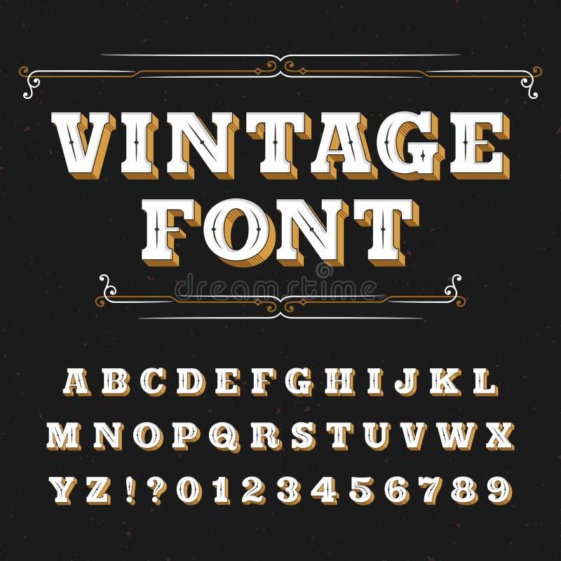 Tappningalfabetstilsort Utsmyckade bokstäver för etiketter, rubriker, affischer på en bekymrad bakgrund royaltyfri illustrationer