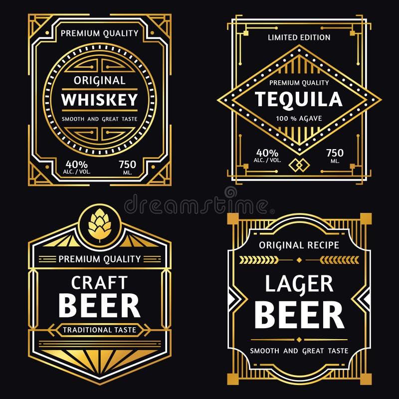 Tappningalkoholetikett Art décowhisky, tequilatecken, retro hantverk och illustration för vektor för ageröletiketter royaltyfri illustrationer